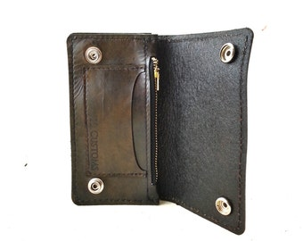 Customize Your Vintage Style Handmade Biker Wallet_Brown with Black Stitching Chain Wallet