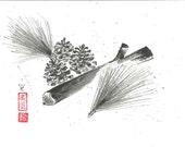Pine cones - Japanese art   - sumi-e drawing - Original - wash ink -12x9 - Wall decor -