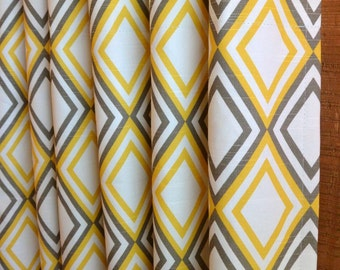 SUMMER SALE! Curtains, Designer Curtain Panels 24W or 50W x 63, 84, 90, 96 or 108L Annie Corn Yellow Kelp White Slub shown