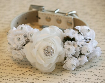 White Floral dog collar with rhinestones, beaded collar, Pet Wedding, Choker