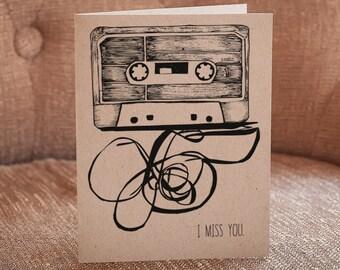 I Miss You Letterpress Card - Cassette