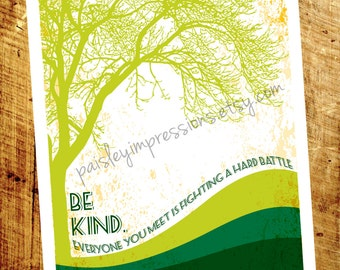 Be Kind Plato quote poster - be kind everyone is fighting a hard battle