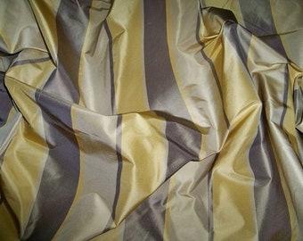 SILK LOOM AVANGARD Stripes Silk Taffeta Fabric 10 yards Taupe Gold Cream