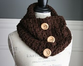 Chocolate Brown cowl neck scarf with 3 wooden buttons, crocheted