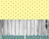 Retro Yellow Polka and Grey Wood All in One - Vinyl Photography  Backdrop Photo Prop