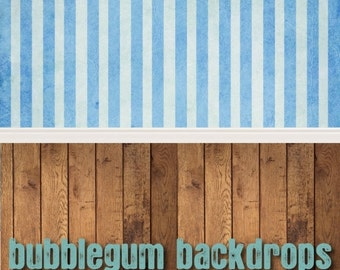 Blue-Stripe - Grunge-Wood All in One - Vinyl Photography  Backdrop Photo Prop