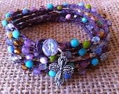 Crochet Wrap Bracelet Necklace Colorful Glass Beads Cross Charm
