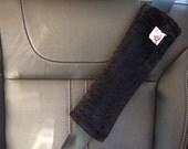 Adult Seat Belt Strap Cover, Hula Moon Adult Seat Belt Strap Cover Set in Black Minky, Minky Dot Seat Belt Cover