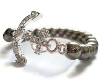Rhinestone Nautical Anchor Beaded Stretch Bracelet