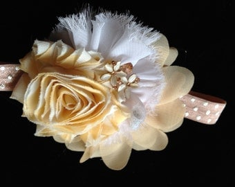 Pale yellow and beige headband - neutral headband - unique shell and rhinestone embellishment  - any size, made to order