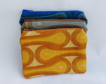 Zippered Coin Purse Wallet Upcyled Upholstery Geometric Modern