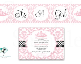 Crown pink damask Baby Shower Invitation Lambs & ivy duchess Inspired - Printable Files