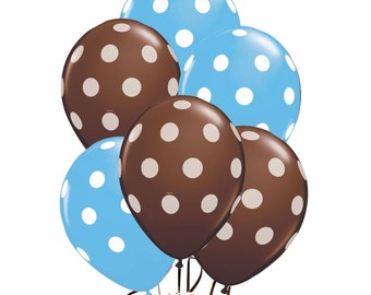 Assorted Balloons - Blue with White Polka Dots and Brown with White Polka Dots