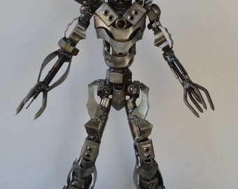 "Hand Made MEGATRON  TRANSFORMERS 14""  Recycled Scrap Metal Sculpture"