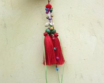Sexy Red Silk tassel keychain Luxury Tassel purse charm purse decoration