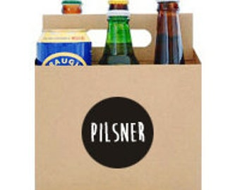 6 Pack Carrier Case also great for Cans and Beverages Customized PILSNER Label Reusable Box Sixpack Holder Carrying Case Six Pack Carrier
