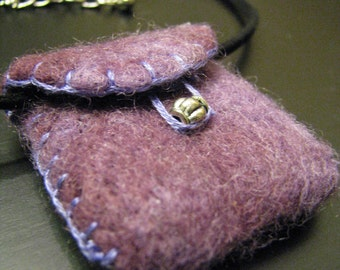 needle felted wool envelope, pendant, necklace, includes silky rope chain