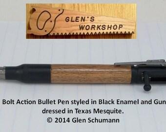 Bolt Action Bullet Pen Black Enamel Gun Metal TX Mesquite Handmade Pen