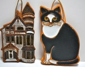 FALL SALE-Victoria Littlejohn Duo Ceramic Plaques Cat and Victorian House