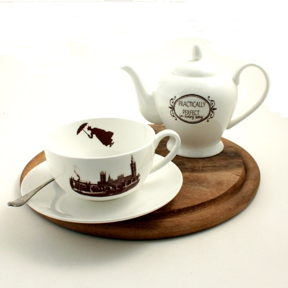 Set Mary Poppins Bone China Big Cup Teapot England Tea Coffee