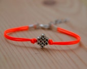 Infinity bracelet, bright peach cord bracelet with a silver endless knot bead, Yoga bracelet, Tibetan chinese celtic knot, valentine gift