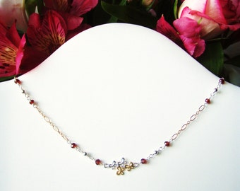 Garnet gold & silver necklace with flower connector OOAK