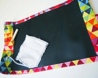 Portable Chalkboard Play Mat/ Placemat Mini - Geometric Multicoloured Triangles