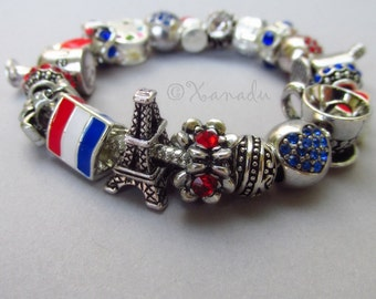 Francophile European Charm Bracelet With Flag Of France, Eiffel Tower And French Themed Beads