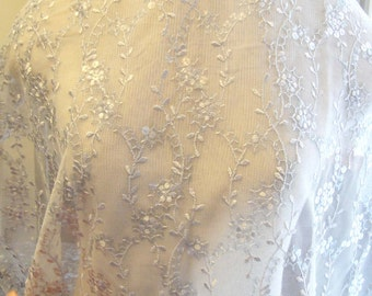 Liquidation - Gray Lace, Bridal Lace, Lace Fabric, Sequin Lace, Beaded Lace Fabric, Sequin Tulle C18-136
