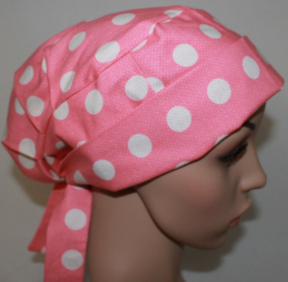 pink cool dots scrub hat surgical scrub hat by