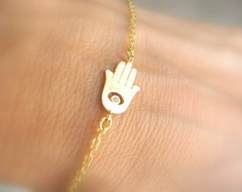 Hamsa Bracelet, Gold Hamsa Bracelet, Gold Delicate Hamsa Bracelet, Sideways Bracelet, Cz diamond Evil Eye Hamsa Hand, Dainty Hamsa Bracelet
