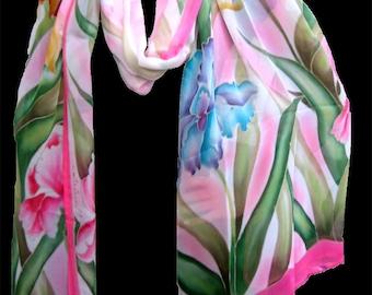 Hand Painted Iris Silk Scarf