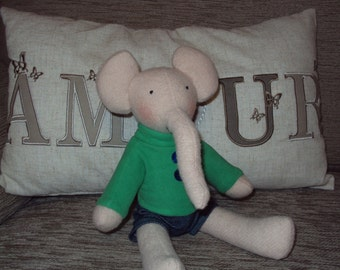 Elephant with Green Sweater & Denim Shorts. Can be personalised