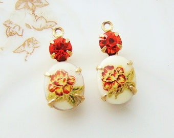 Vintage Orange Daffodil Flower Cameo & Hyacinth Rhinestones in Brass, Matte Black or Antique Silver Settings - 2