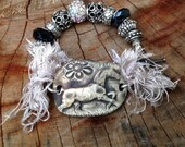 Black, Grey, Stone, Galloping Horses Ceramic and Bead Wrap Bracelet, Acrylic beads, Gift for Horse Lover OOAK Hand-sculpted, Greys and Black