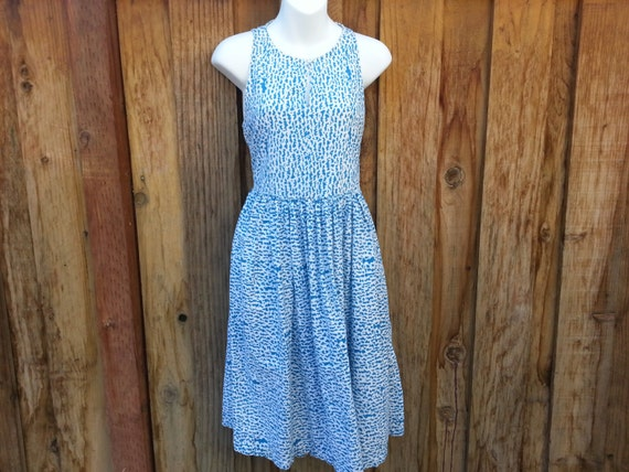 Vintage Blue and White Cotton Dress - Size Small to Medium