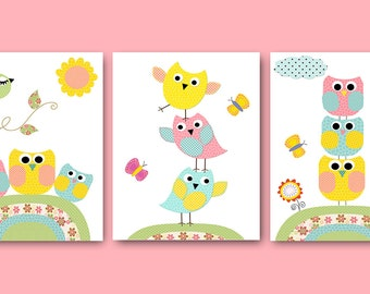 Kids Wall Art Owl decor Baby Nursery Decor Boy Baby Girl Nursery Owl Nursery Kids Art Baby Room Decor Nursery Print set of 3 Rose Yellow /