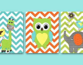Owl Decor Giraffe Nursery Elephant Nursery Baby Boy Nursery Art Decor Nursery Wall Art Kids Room Decor Kids Art set of 3 8 x 10 Orange Blue