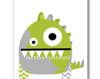 Kids Room Decor Childrens Art Baby Nursery Decor Kids Art Kids Wall Art Baby Boy Nursery Room Decor Nursery Print 8x10 Monster Gray Baby Art