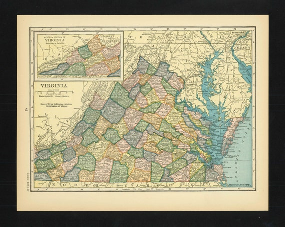 Items Similar To Texas Antique Map: Items Similar To Vintage Map Virginia From 1926 Original