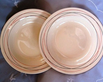 Oxford Swirls Soup Salad Bowls, Grey orange swirls salad bowls,  Set of 2 Good Used