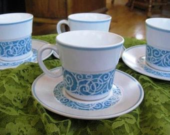 Vintage Noritake Progression Milburn Mugs & Saucers, 4 sets included, Very Good