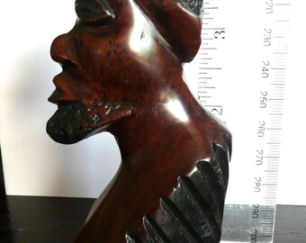 Sculpture - Wood Carving - Vintage Statue - Folk Art - Bust of a Man - African - Carved Man Statue - Figural Tribal Statue - Mahogany