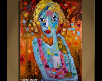 Oil Painting Modern Original Art  Impressionist Abstract Portrait ACTRESS 27