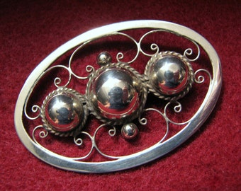 Vintage MEXICO 925 Sterling Silver Brooch -- 9.1 Grams, Signed ACHL
