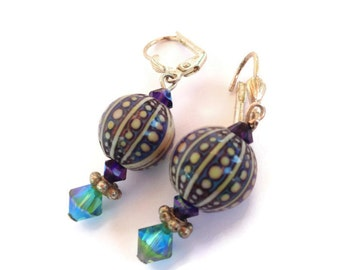 Mood Earrings, Color Changing Beads, Retro Jewelry, Funky Earrings, Mood Jewelry, Fun Earrings