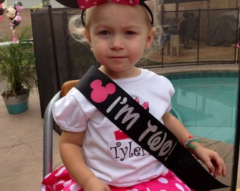 Minnie Mouse Birthday Sash- Toddler Birthday- Custom Sash- I'm Two!- Bday Sash- Disney Sash