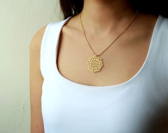 Gold necklace, flower necklace, Christmas gift, Christmas sale