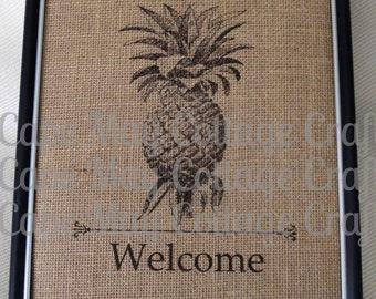 Burlap Welcome Pineapple, Customized