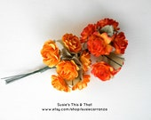 12 Paper Roses On Green Wire Stems, 6 Orange & 6 Goldenrod. Flowers measure about 1 1/4 inches.